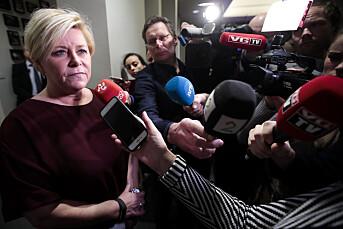 TILBAKEBLIKKET: Alle vil ha en kommentar fra Siv Jensen på Stortinget