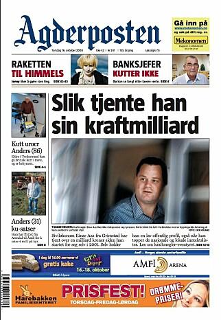 Faksimile Agderposten 16. oktober 2008. Agderposten ble frikjent i PFU for bildebruken av Einar Aas.