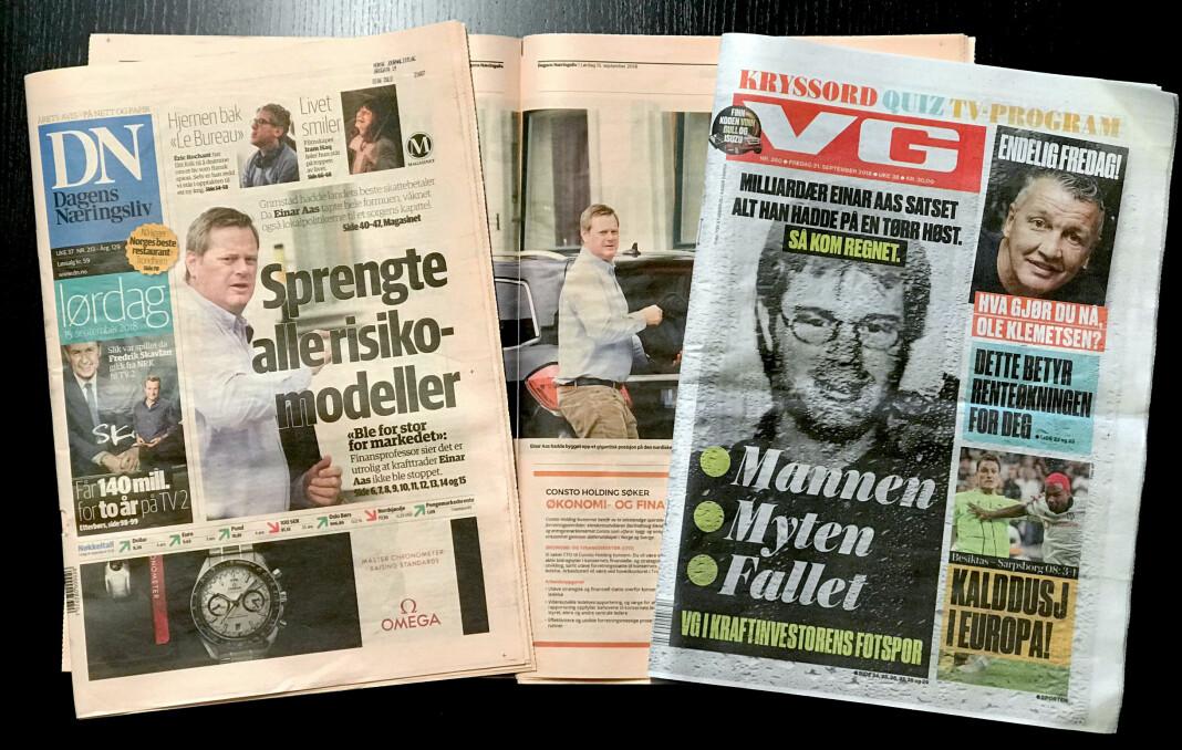 Slik bruker Dagens Næringsliv bilder av Einar Aas i lørdags- og onsdagsutgavene 15. og 19. september og VG fredag 21. september. Foto: Glenn Slydal Johansen