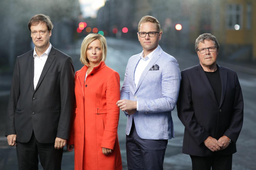 Åsted Norges programledere og eksperter: John Christian Elden, Hanne Kristin Rohde, Jens Christian Nørve og Asbjørn Hansen. Foto: TV 2