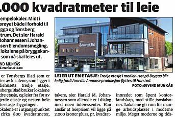 Tønsbergs Blad siterte megler på at lokaler avisen selv leide ut var «kjempelokaler» og «midt i smørøyet». Kan bli felt i PFU