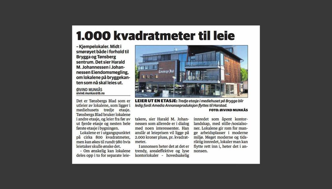 Denne saken stod på trykk 22. mai i Tønsbergs Blad.