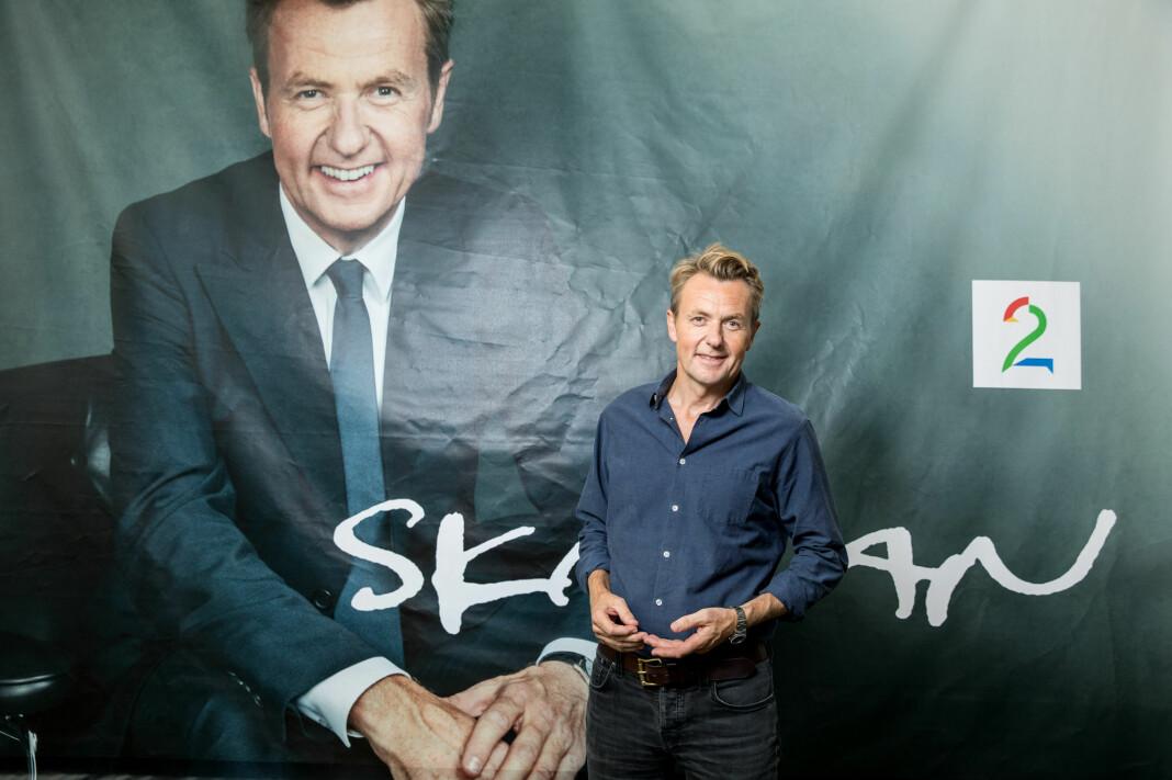 Seertallene faller kraftig for Fredrik Skavlan, etter at han gikk fra NRK til TV 2. Foto: Eivind Senneset / TV 2 / NTB Scanpix
