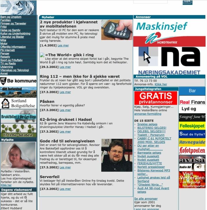 Slik så Vol ut i 2002. Foto: Skjermdump