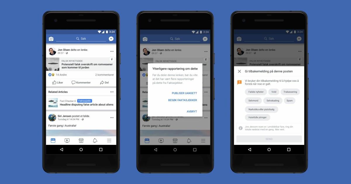 e2390037 Nå kan nordmenn få varsel om de sprer falske nyheter på Facebook