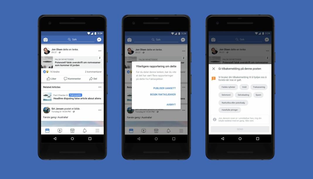 Slik vil faktasjekkverktøyet som Facebook nå lanserer i Norge se ut for brukerne. Skjermbilde: Facebook