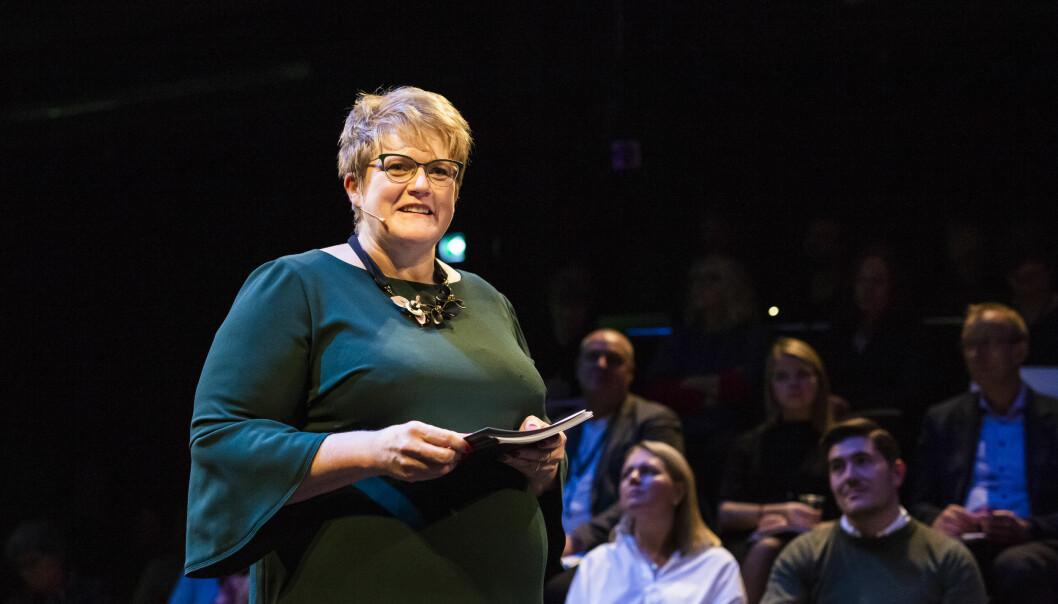 Kulturminister Trine Skei Grande (Venstre) under fremleggelsen av neste års kulturbudsjett tidligere i høst. Foto: Kristine Lindebø