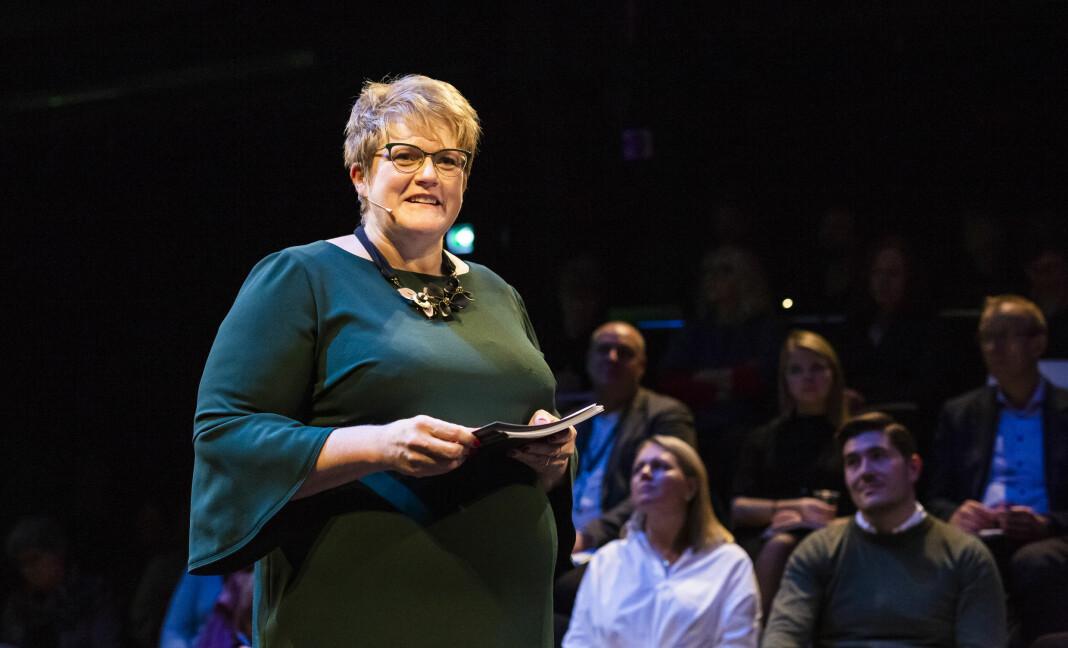 Kulturminister Trine Skei Grande la fram kulturbudsjettet for 2019 i Dramatikkens hus på Grønland i Oslo. Foto: Kristine Lindebø