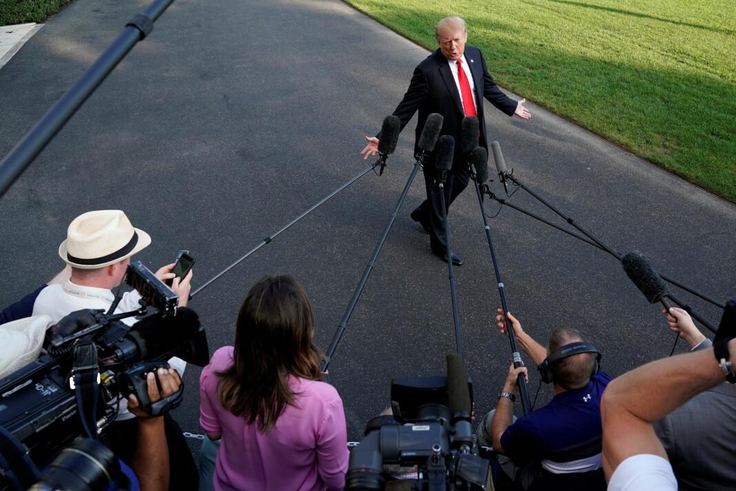 President Donald Trump ble mandag spurt av pressen om hva han tenkte om Khashoggi-saken. Foto: Jonathan Ernst / Reuters / NTB scanpix