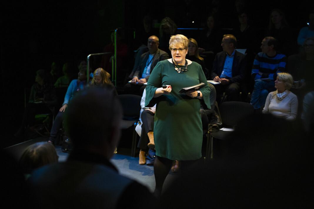 Kulturminister Trine Skei Grande presenterte regjeringas forslag til kulturbudsjett for 2019. Foto: Kristine Lindebø