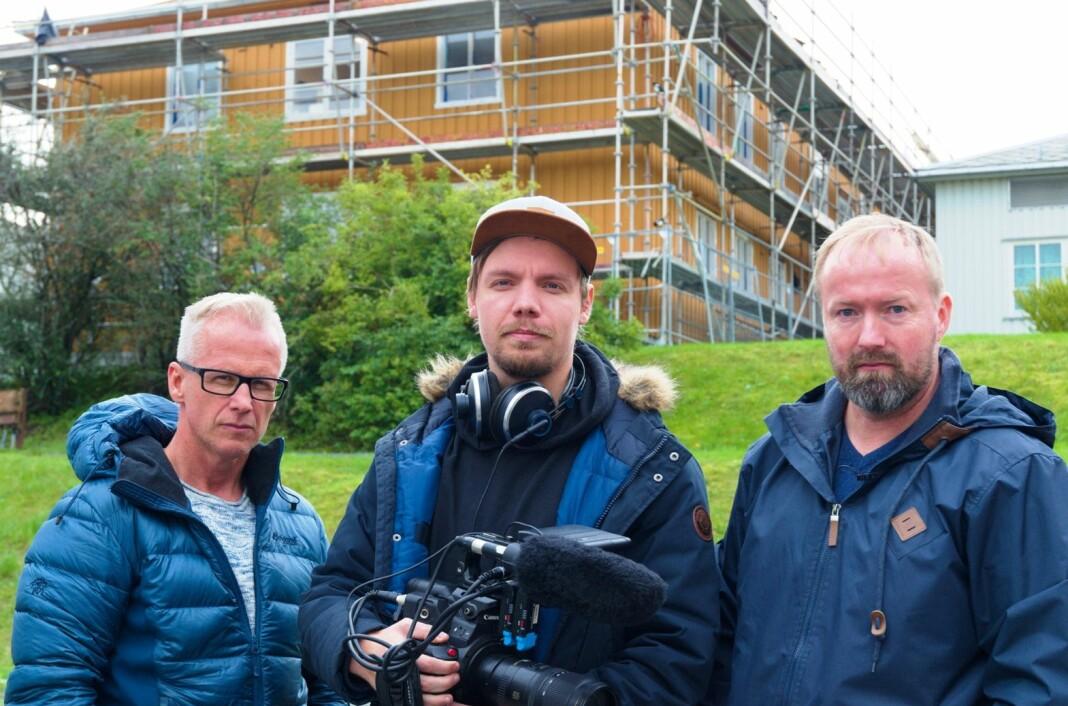 Insider avdekker dårlige arbeidsforhold på byggeplasser. F.v. Stein Morten Lier, fotograf Tobias Grøndahl og Vidar Sagmyr. Alle foto: Bjørn Lønnum  Andreassen