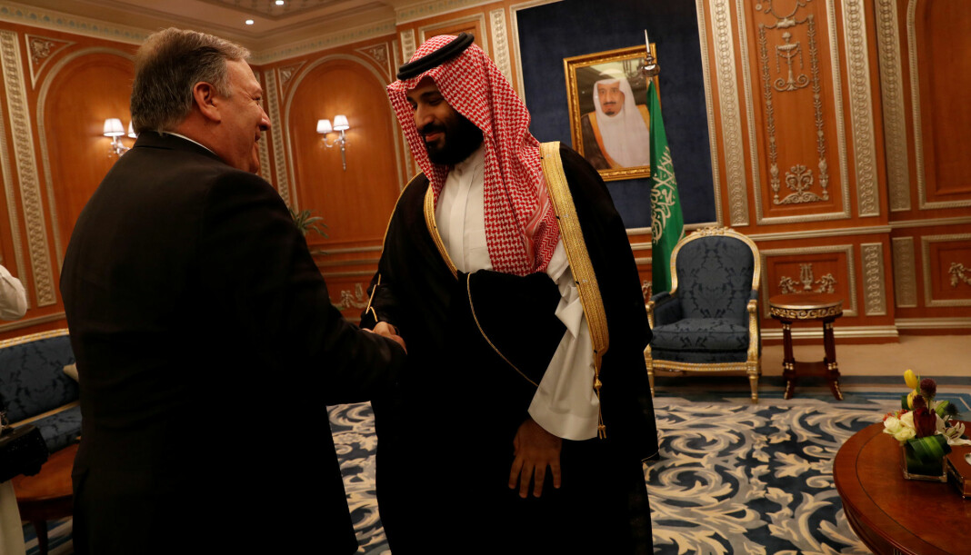 USAs utenriksminister Mike Pompeo møtte tirsdag Saudi-Arabias kronprins Mohammed bin Salman i den saudiarabiske hovedstaden Riyadh. Foto: Reuters / NTB scanpix