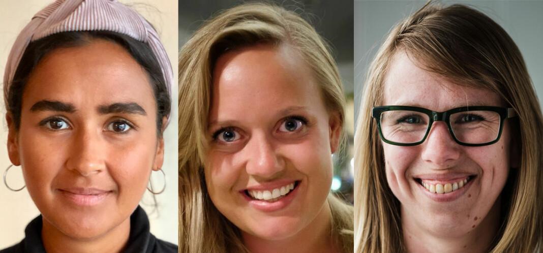De tre i finalistene. Fra venstre: Nora Ibrahim, Julie Lundgren og Anniken Renslo Sandvik.  Foto: Privat/Fartein Rudjord/Ole Gunnar Onsøien