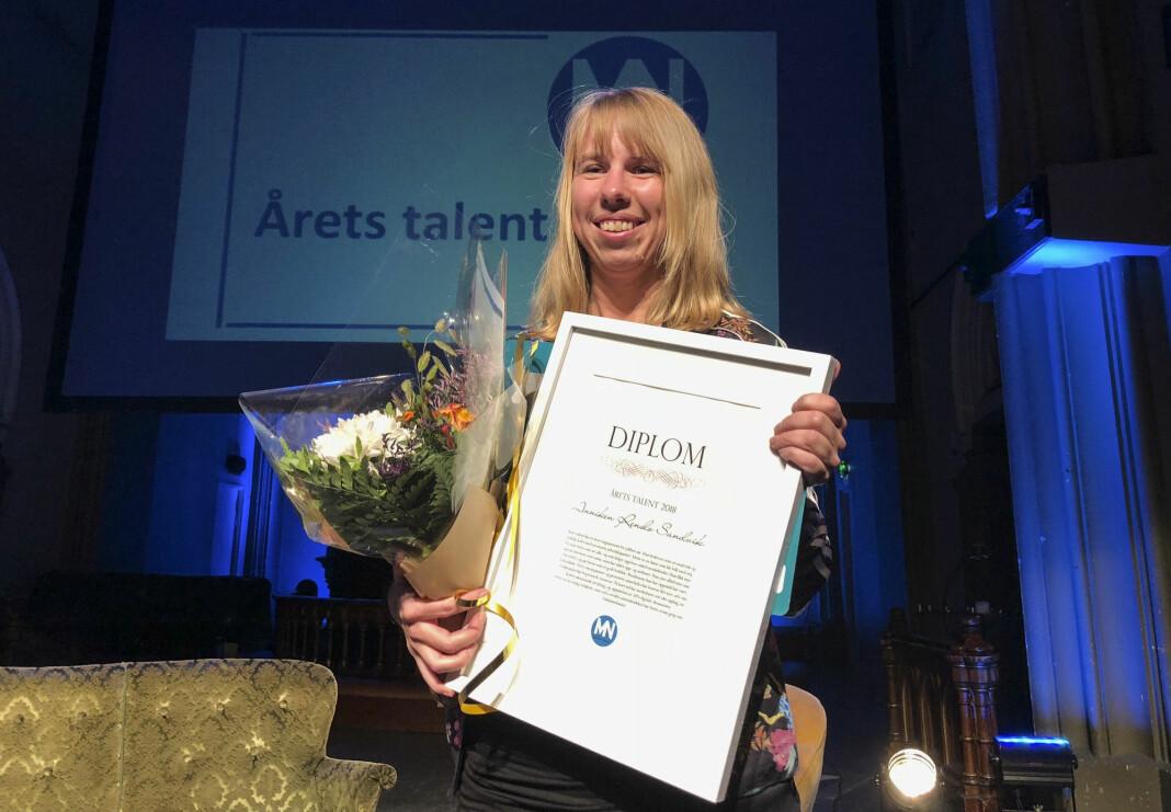 Ansvarlig redaktør i Finnmarken, Anniken Renslo Sandvik, ble kåret til årets talent under Medienettverkets høstmøte. Foto: Mette Bugge / NTB scanpix