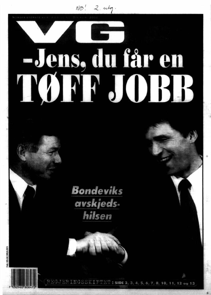 Forsida av VG, 10. mars år 2000, dagen etter at regjeringa Bondevik I gikk av. Faksimile, VG