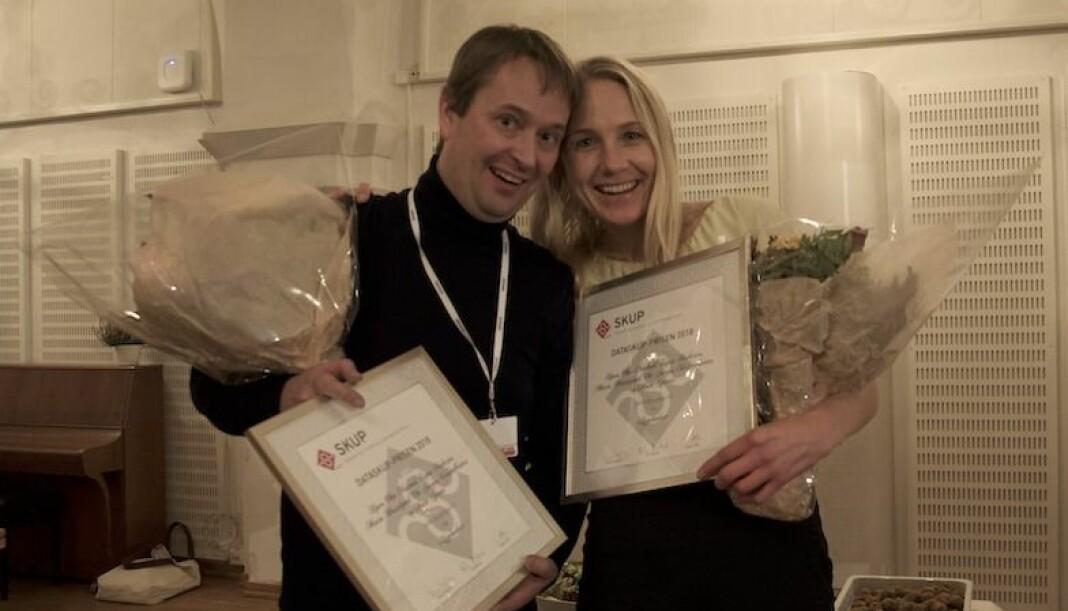Espen Andersen og Maria Hasselgård i NRK Brennpunkt jubler etter seieren. Foto: Silje Sjursen Skiphamn / SKUP