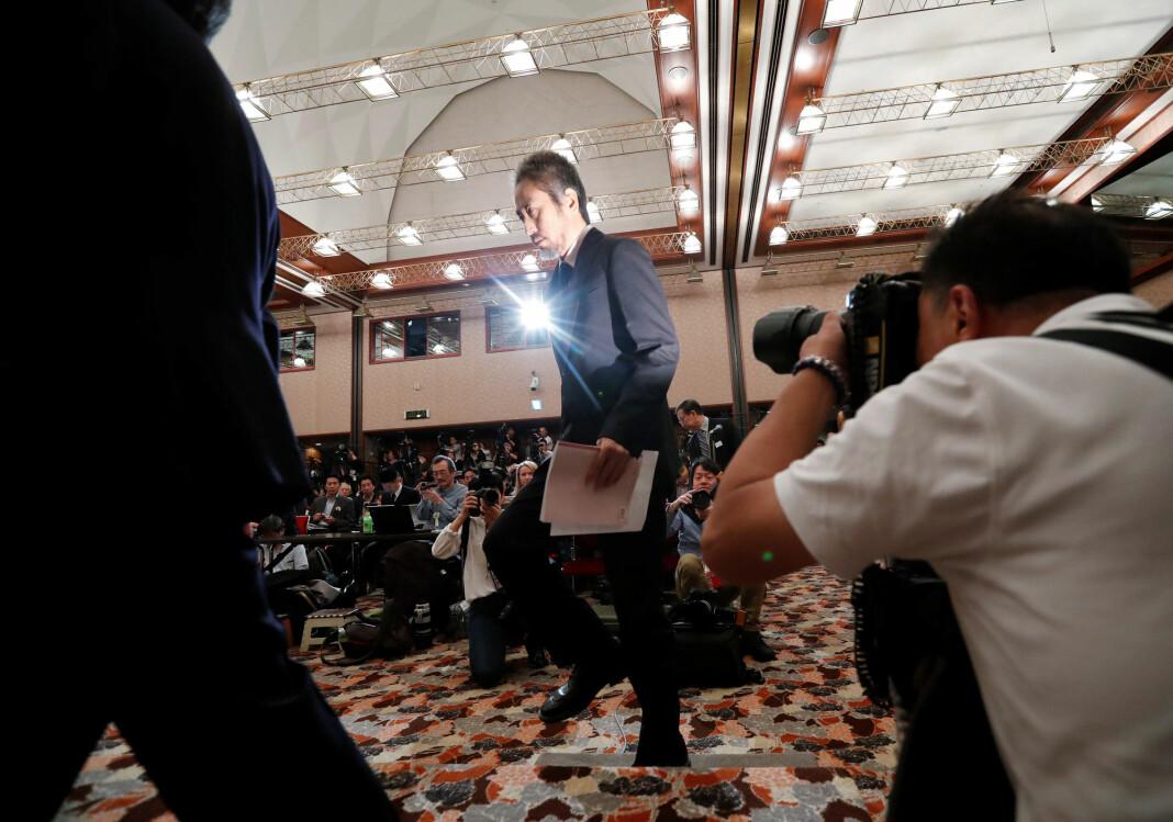Jumpei Yasuda holdt sin første pressekonferanse i Tokyo fredag etter at han ble sluppet fri i forrige måned. Foto: Reuters / NTB scanpix