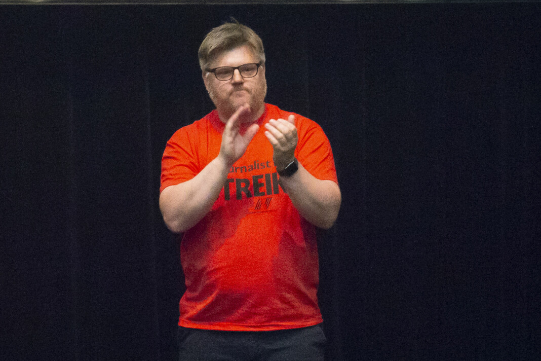 På denne ukes årsmøtet går Richard Aune av som leder for Norsk Journalistlag i NRK. Bildet er fra årets streik. Foto: Fredrik Hagen / NTB scanpix