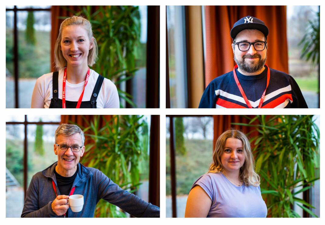 NRKJ-tillitsvalgte Kristin Olsen, Pontus Wesøe, Bjørn Solli og Elise Holdal. Foto: Kristine Lindebø