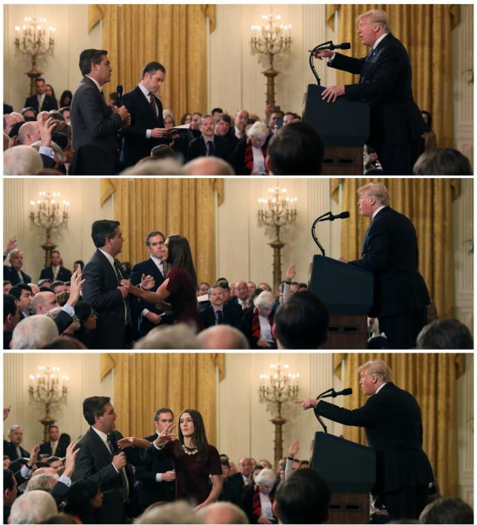President Donald Trump var ikke blid da han fikk kritiske spørsmål fra CNNs reporter Jim Acosta. Foto: Reuters / NTB scanpix