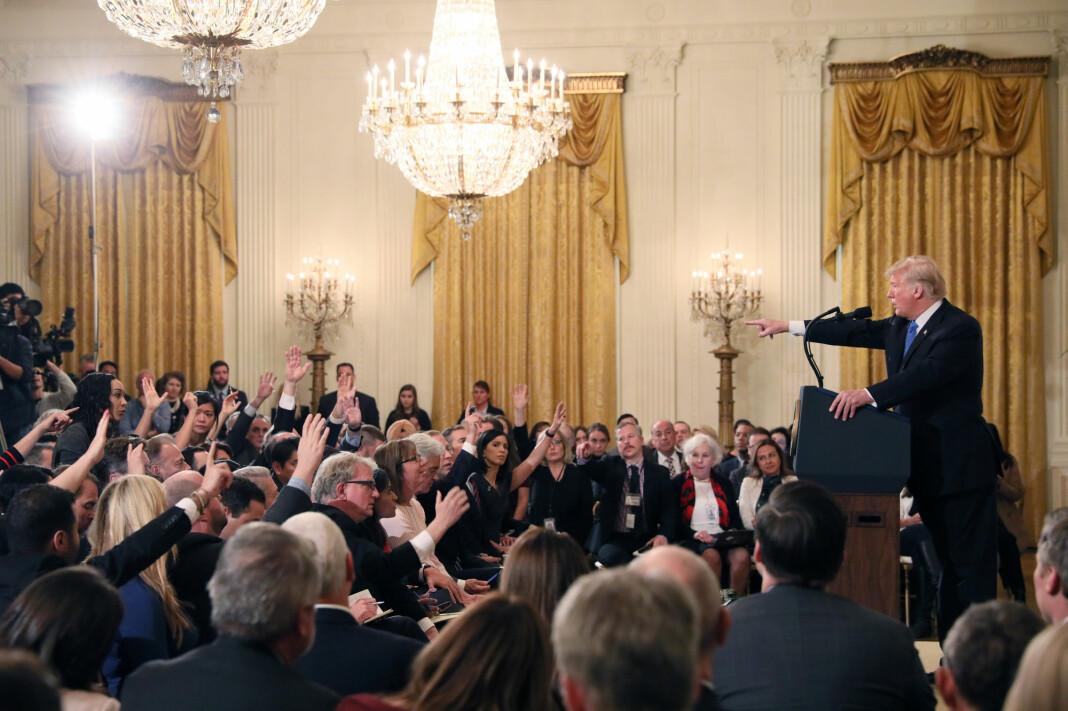 President Donald Trump under pressekonferansen onsdag. Foto: Reuters / NTB scanpix