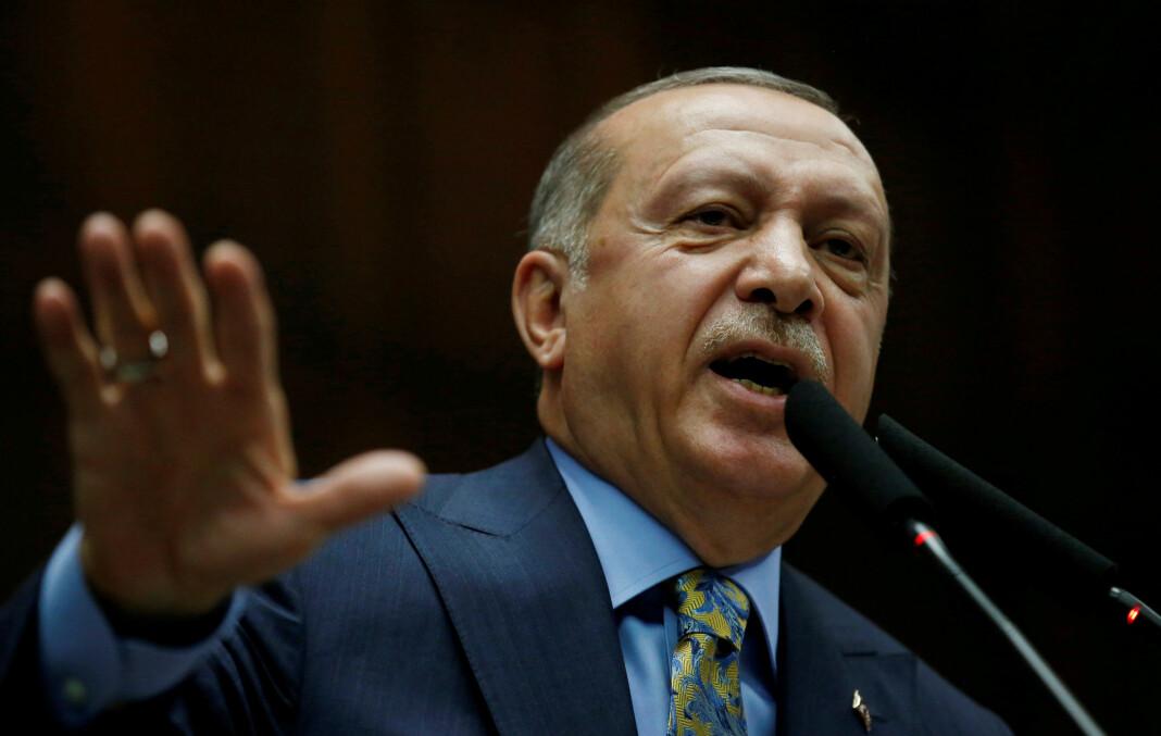 Tyrkias president Recep Tayyip Erdogan sier opptak knyttet til drapet på Jamal Khashoggi er blitt delt med USA, Saudi-Arabia, Storbritannia og flere andre land. Foto: Tumay Berkin / Reuters / NTB scanpix