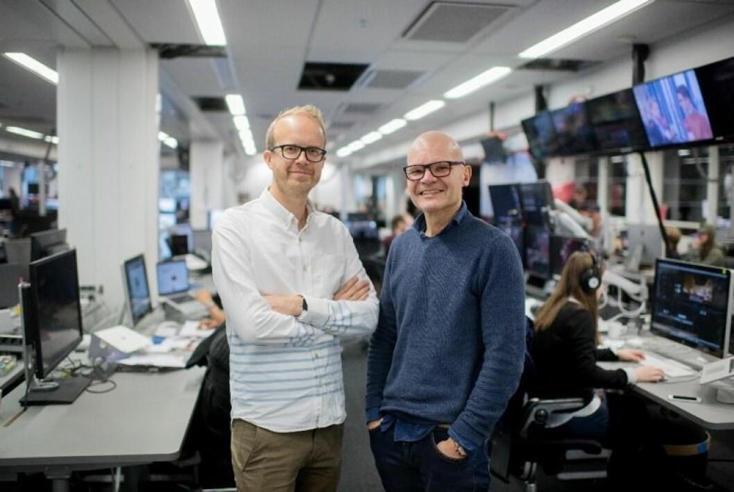 Duoen som leder VGTV: Redaktør Rolf Sønstelie (t.h.) og administrerende direktør Thomas Manus Hønningstad.