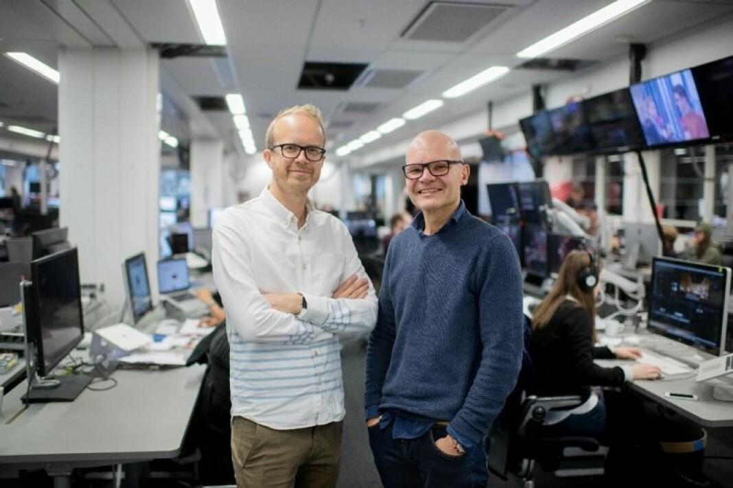 Rolf Sønstelie (t.h.) er ny redaktør og Thomas Manus Hønningstad ny administrerende direktør i VGTV. Foto: Gøran Bohlin/VG