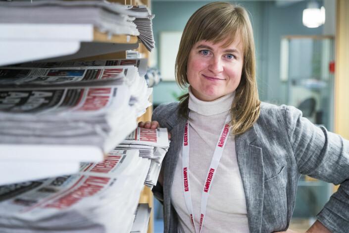 Mari Skurdal, ansvarlig redaktør i Klassekampen, frykter at abonnenter vil si opp hvis avisen ikke kommer hver dag. Foto: Heiko Junge / NTB Scanpix