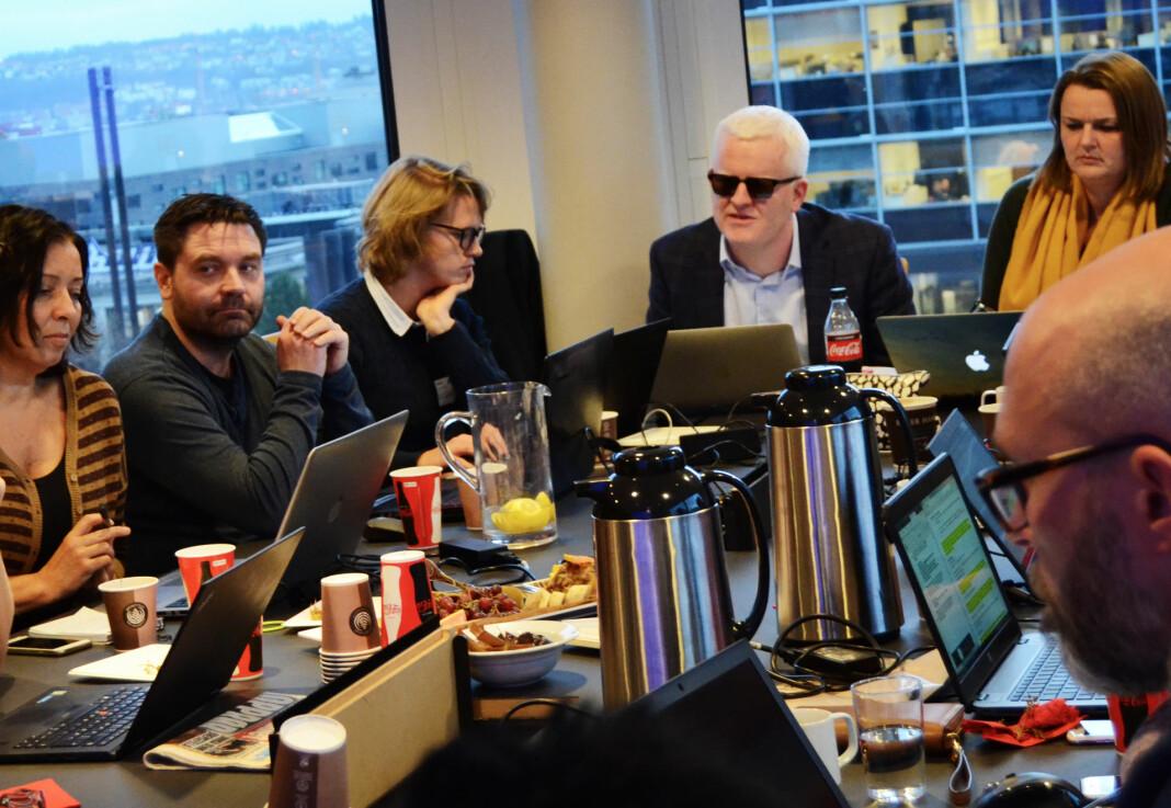 Onsdagens landsstyremøte i NJ foregår digitalt. På dette bildet er landsstyret samlet hos Aller for to år siden. Alle på bildet er også i dagens styre. Mari Hauge (i midten) er ansatt i NJs sekretariat.