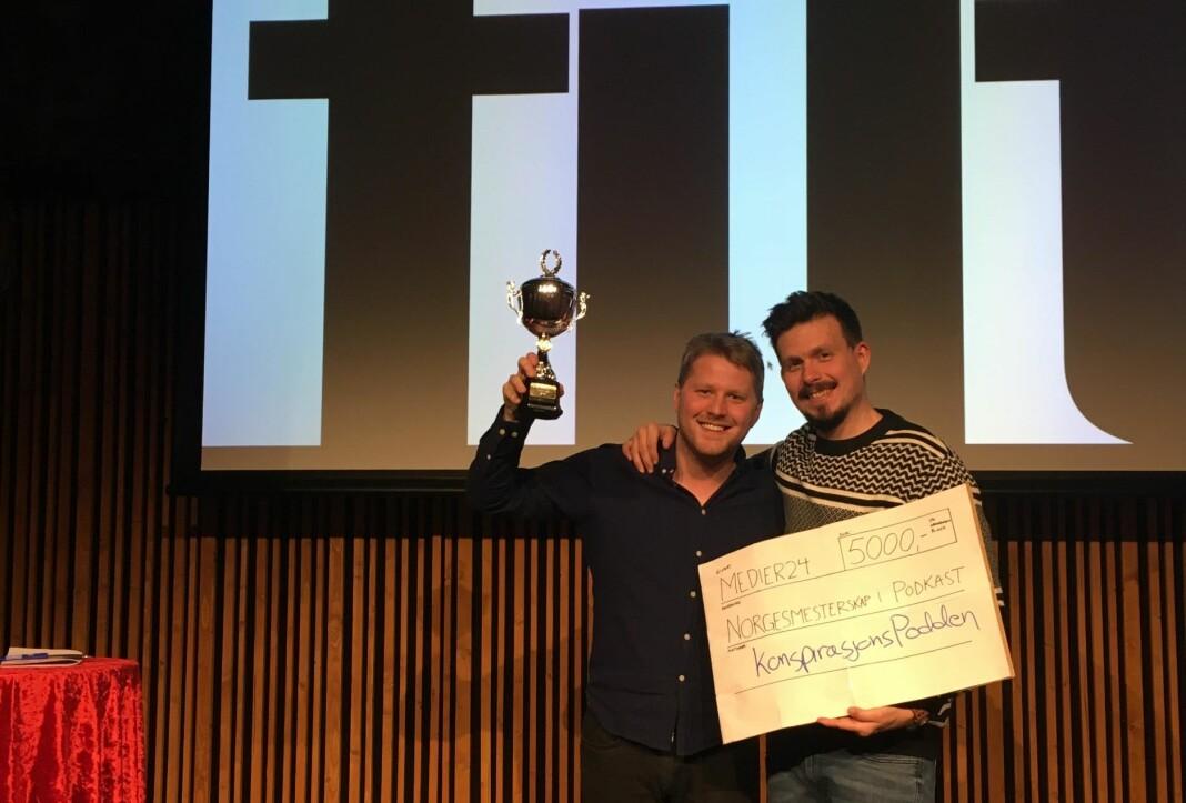 Fredrik Sjaastad Næss og Bjørn-Henning Ødegaard i Konspirasjonspodden vant NM i podkast 2018. Foto: Peter Daatland / Filt