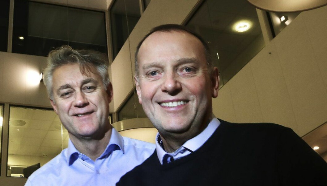 Sjefredaktør Jan-Eirik Hanssen og administrerende direktør Bjarne Holgersen i Avisa Nordland lanserer på nyåret BodøBy. Foto: Tom Melby