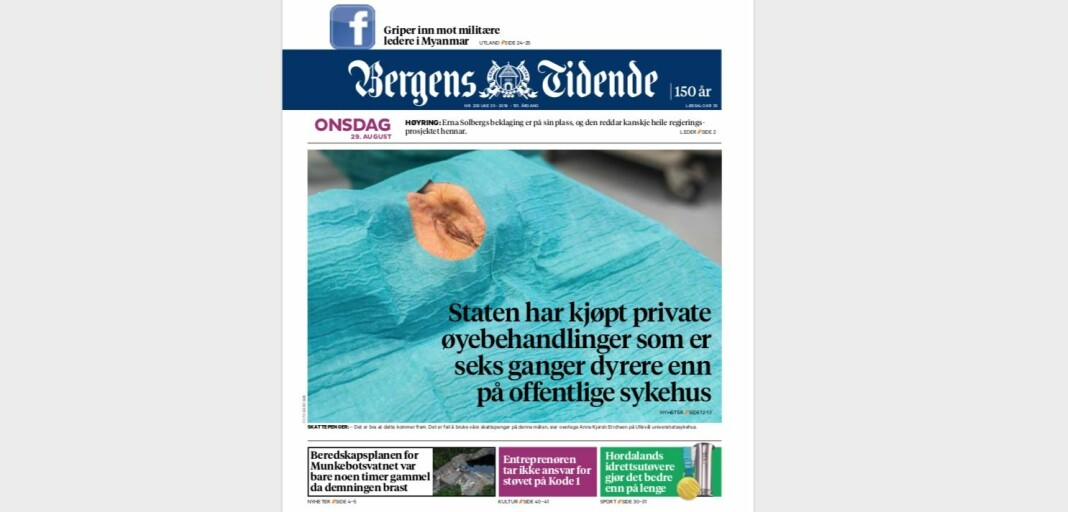 Faksimile Bergens Tidende 29. august