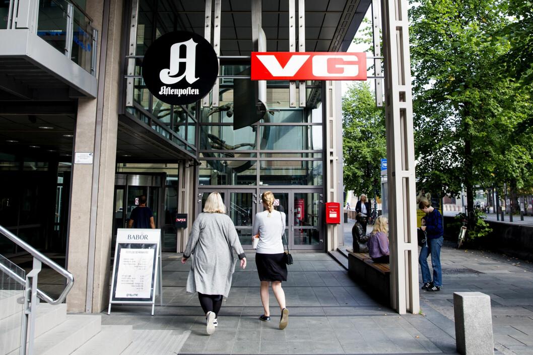 Schibsted tar servicedesken tilbake til selskapet, blant annet til Akersgata, der også VGs og Aftenpostens redaksjoner er. Foto: Håkon Mosvold Larsen / NTB scanpix