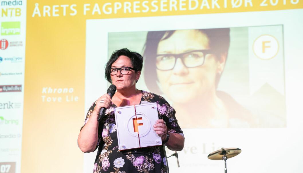 Ansvarlig redaktør for Khrono er Tove Lie. Tidligere i år ble hun kåret til Årets fagpresseredaktør. Foto: Audun Braastad / NTB scanpix