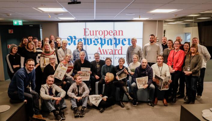 Adresseavisens redaksjon feirer prisen. Foto: Håvard H. Jensen, Adresseavisen