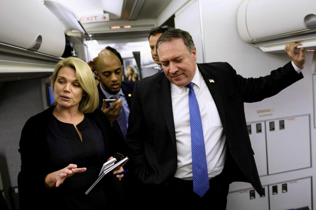 Heather Nauert har den siste tiden vært talskvinne for utenriksdepartementet. Her sammen utenriksminister Mike Pompeo. Foto: Reuters / NTB scanpix