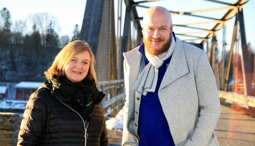 Administrerende direktør Eva Holmgren og ansvarlig redaktør Bjørn Inge Rødfoss i Eidsvoll Ullensaker Blad er usikre på hva de skal gjøre. Foto: EUB