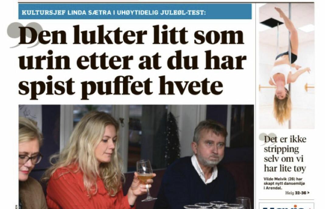 Kultursjefen i Arendal kommune så ikke veldig humoristisk på dagens oppslag i Agderposten. Noe hun også ga klar beskjed om.