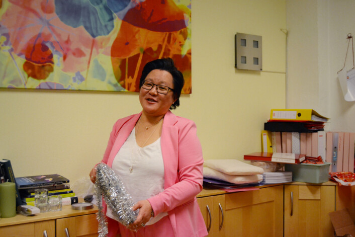 Lena-Maria Haugerud i LFSS har foreberedt kontoret til jul da Journalisten er på besøk. Foto: Guro Flaarønning