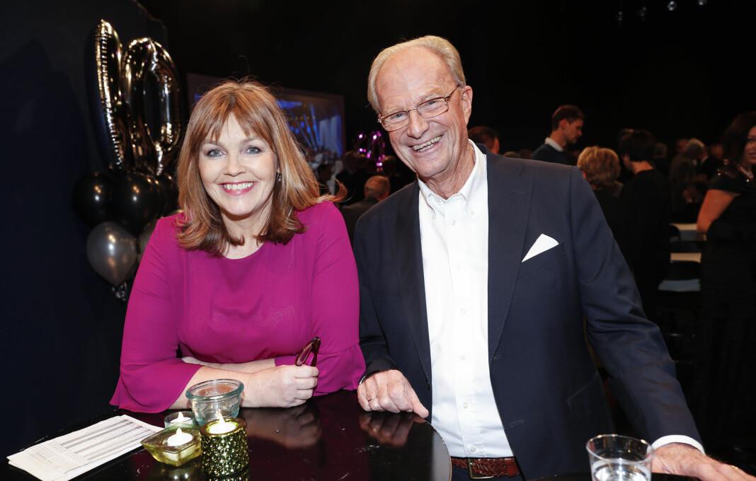 Einar Lunde og Ingvild Bryn deltok under feiringa av at Dagsrevyen er 60 år. Markeringa fant sted hos NRK på Marienlyst i Oslo. Foto: Terje Bendiksby / NTB scanpix