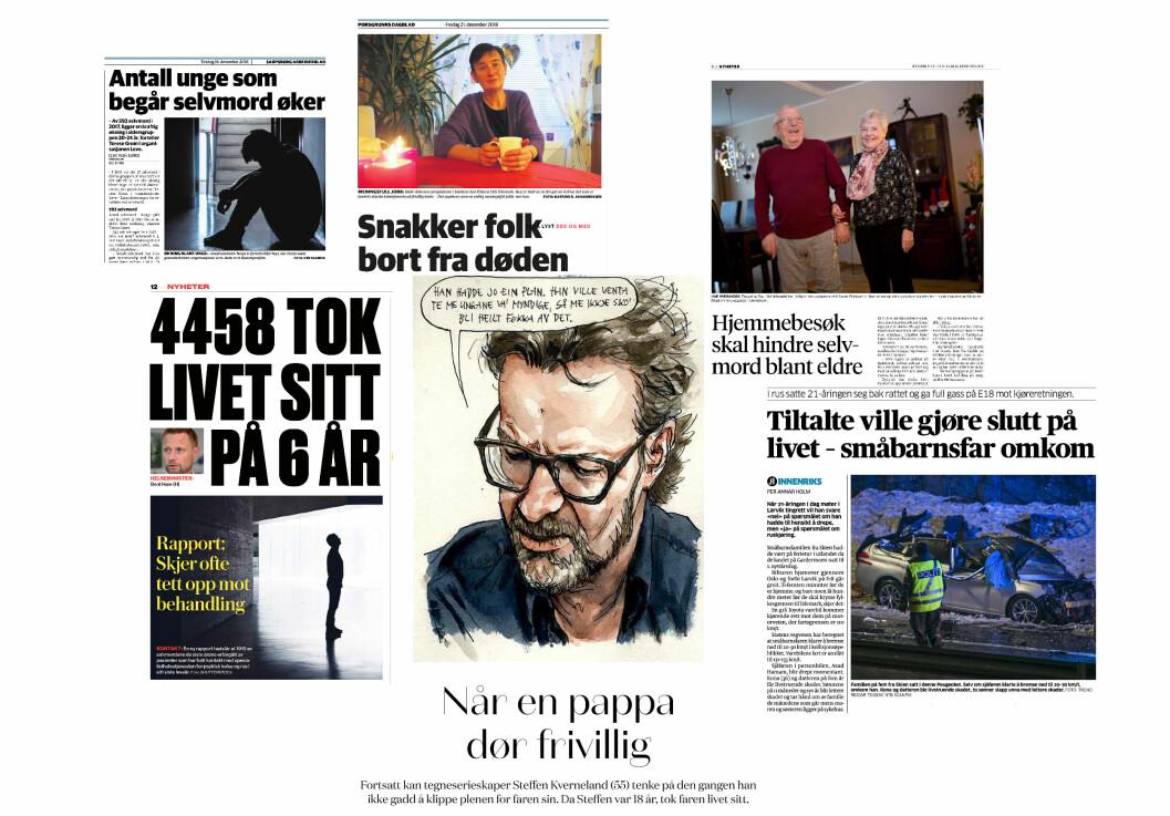 Et utvalg avisoppslag om selvmord fra siste del av 2018. Faksimile: Sarpsborg Arbeiderblad, Porsgrunn Dagblad, Bergens Tidende og VG.