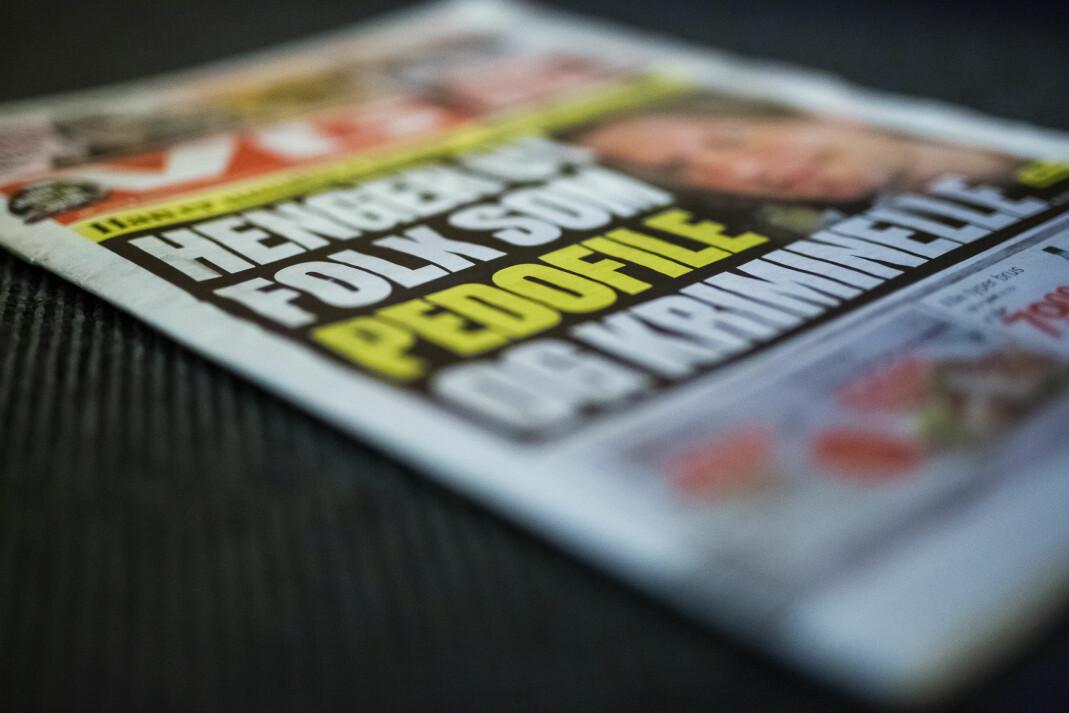 VGs forside 8. desember. Mannen identifiseres både med navn og bilde. Foto: Kristine Lindebø