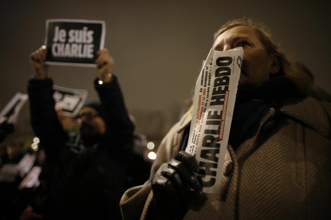 I 2015 ble tolv personer drept i et terrorangrep mot det franske satiremagasinet Charlie Hebdos redaksjonslokaler i Paris. Foto: Reuters / NTB scanpix