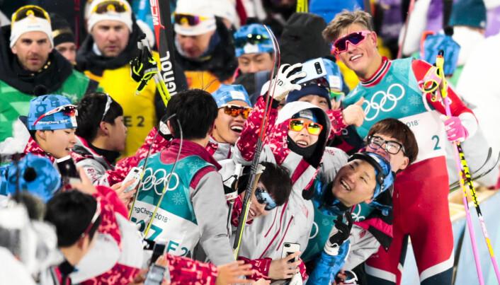 Vinter-OL i Pyeonchang var saken som gjorde oss mest glade i 2018. Johannes Høsflot Klæbos sprintgull var blant 39 medaljer i det som ble tidenes beste vinter-OL for Norge. Foto: Lise Åserud / NTB scanpix.