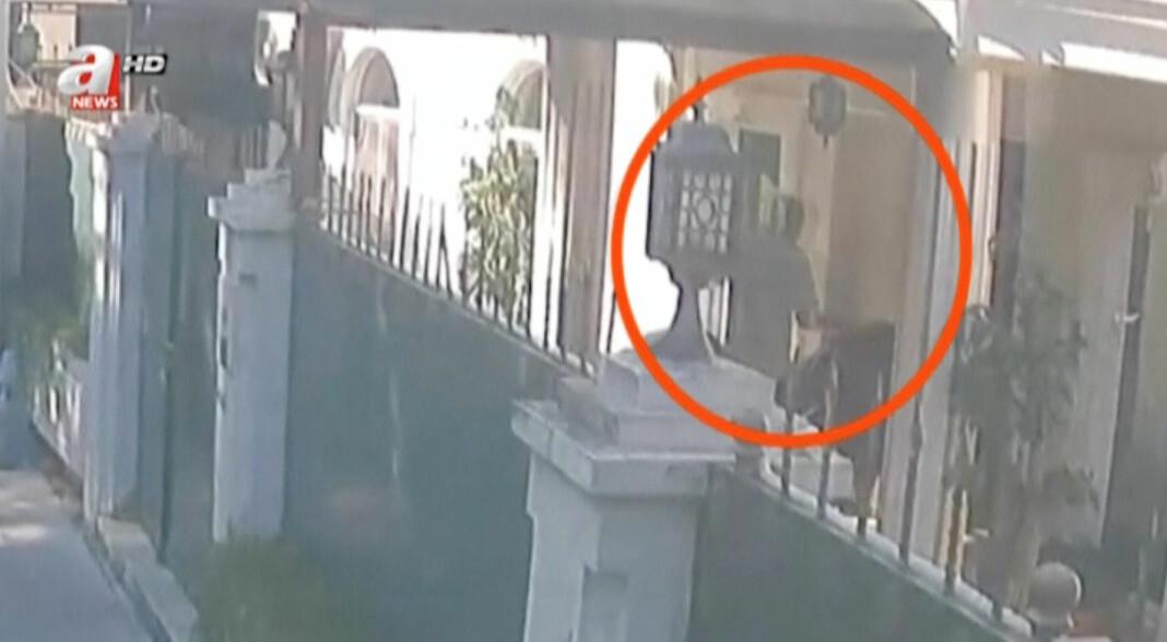 Dette bildet fra et overvåkningskamera skal ifølge en tyrkisk tv-stasjon vise en person som frakter en koffert ut av det saudiarabiske konsulatet i Tyrkia, som inneholder Jamal Khashoggis likdeler. Foto: Reuters / NTB scanpix