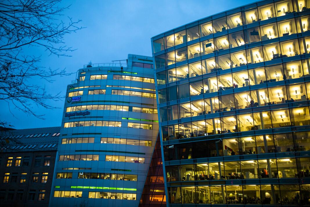 I samme bygg som Dagens Næringsliv i sentrum av Oslo holder Morgenbladet til. Begge hører til NHST-konsernet. Foto: Kristine Lindebø