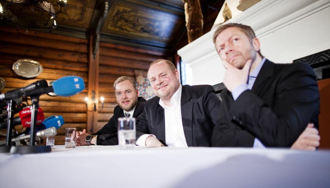 Tore Sagen (t.v) er en av de NRK-ansatte som skal få podkasten sin på Spotify. Her med resten av Radioresepsjonen.