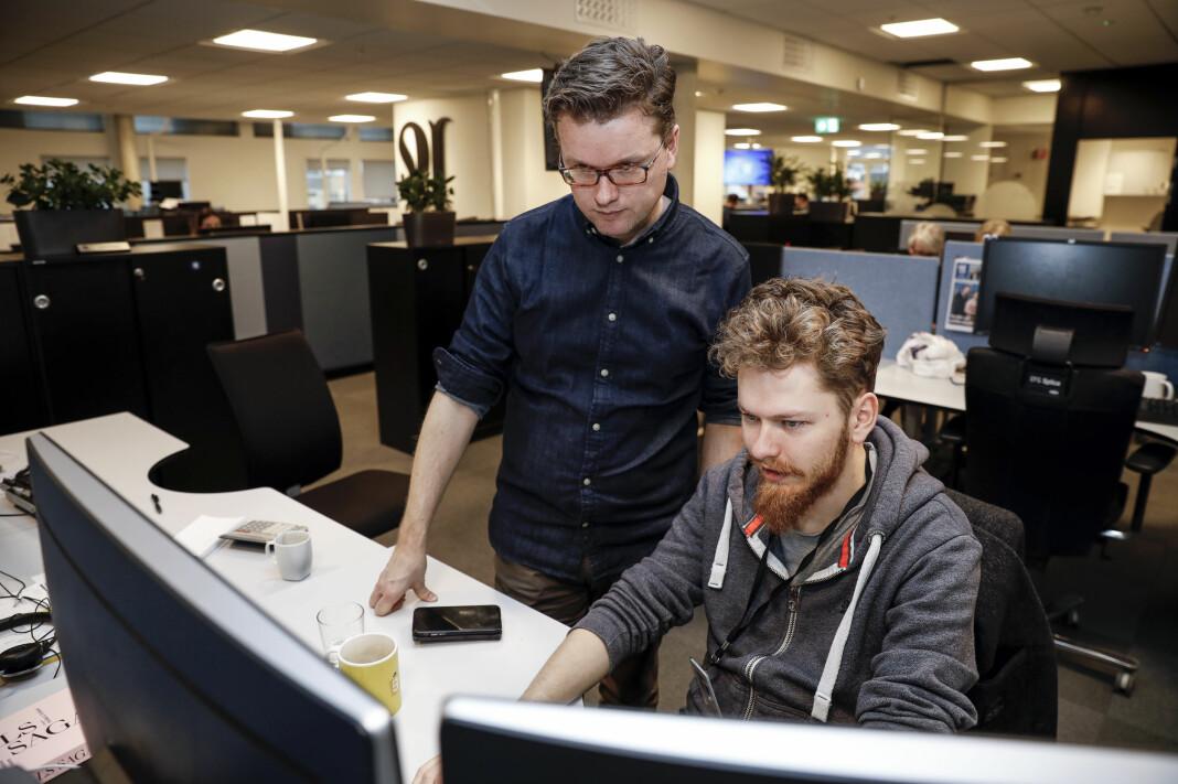 Espen Rasmussen (t.v) og Agne Ødegaard har utviklet Adresseavisens boligrobot. Foto: Espen Bakken / Adresseavisen.