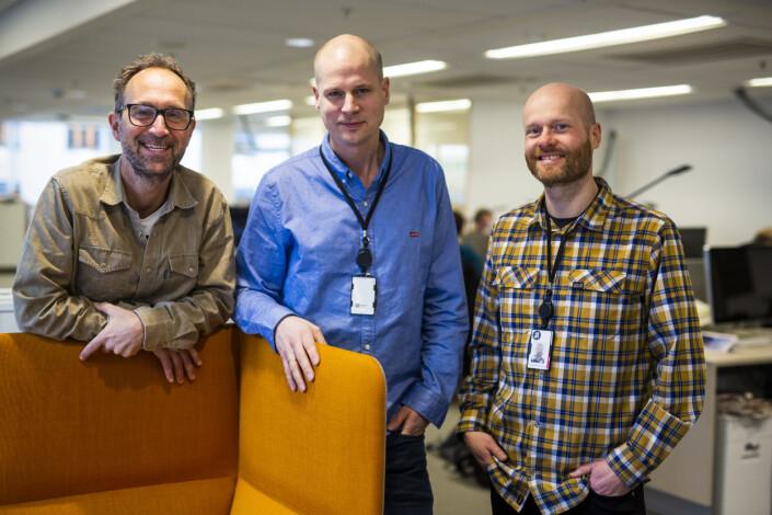 Nyhetsleder for visuell feature, avdelingsleder og nyhetsleder i visuell avdeling i Aftenposten, Stig B. Hansen, Eirik Wallem Fossan og Torbjørn Katborg Grønning. Foto: Kristine Lindebø
